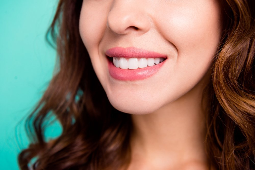 Up close of smiling woman with nice white teeth